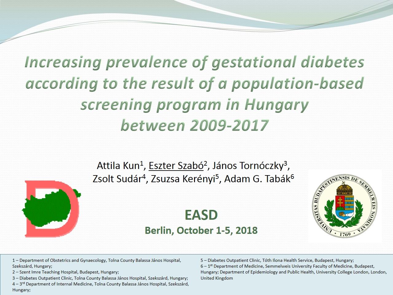 Increasing prevalence of gestational diabetes according to